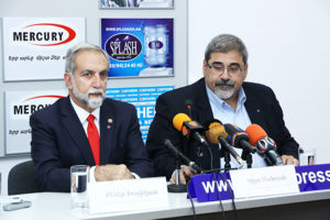 ALC Chairman Ken Haghikian and ALC Board Member Giro Manoyan announce the launch of the Armenian Legal Center for Justice and Human Rights at a press conference in Yerevan